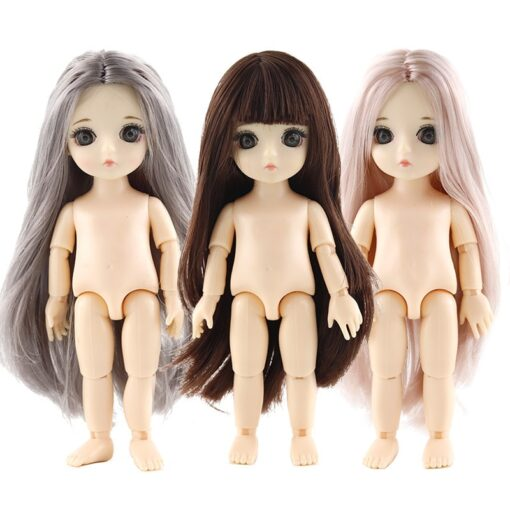 New 3D Big Eye 16 CM Doll Movable Jointed Toys Cute Dolls Female Naked Nude Body
