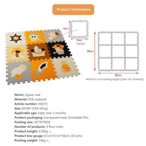 New 9pcs set EVA Foam Play Mat Baby Puzzle Floor Mats Carpet Pad Toys For Children 5