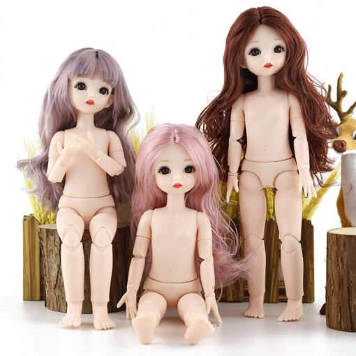 New BJD Doll 30cm 22 Movable Joints Plastic Nude Body Change Makeup Long Hair Fashion Dolls 2