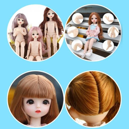 New BJD Doll 30cm 22 Movable Joints Plastic Nude Body Change Makeup Long Hair Fashion Dolls 4