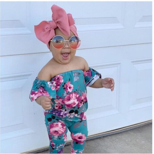 New Baby Girls Headband Toddler Big Bow Hairband Cute Solid Stretch Turban Big Knot Head Wrap 1