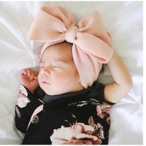 New Baby Girls Headband Toddler Big Bow Hairband Cute Solid Stretch Turban Big Knot Head Wrap 2