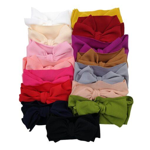 New Baby Girls Headband Toddler Big Bow Hairband Cute Solid Stretch Turban Big Knot Head Wrap 3
