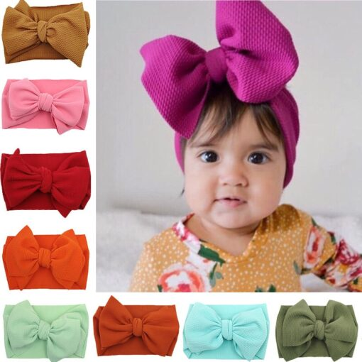 New Baby Girls Headband Toddler Big Bow Hairband Cute Solid Stretch Turban Big Knot Head Wrap