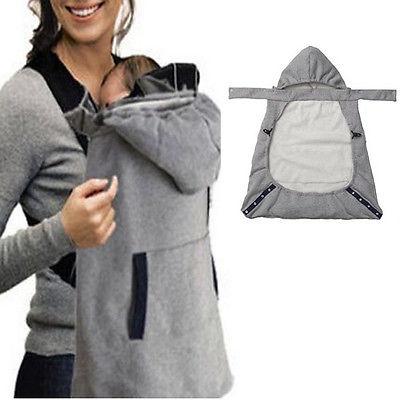 New Baby Warm Wrap Sling Carrier Windproof Kids Backpack Blanket Carrier Newborn Cloak Grey Funtional Winter