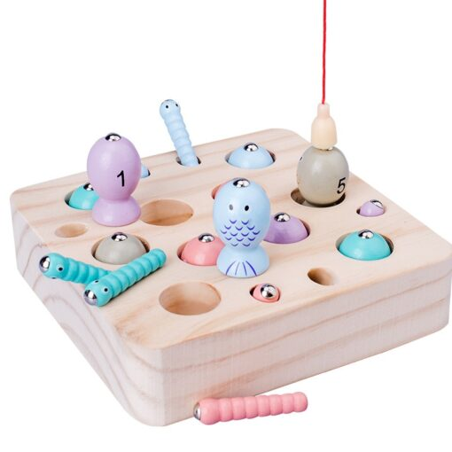 New Baby Wooden Montessori Toys Digit Magnetic Games Fishing Toys Game Catch Worm Educational Puzzle Toys 1