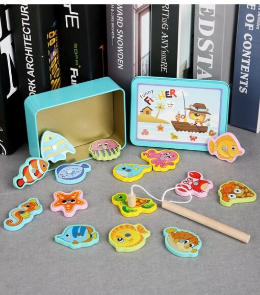 New Baby Wooden Montessori Toys Digit Magnetic Games Fishing Toys Game Catch Worm Educational Puzzle Toys 2
