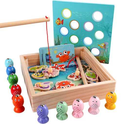 New Baby Wooden Montessori Toys Digit Magnetic Games Fishing Toys Game Catch Worm Educational Puzzle Toys 4