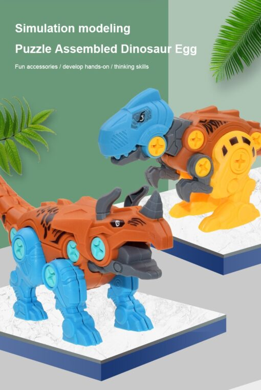 New Blocks Puzzles Nut Disassembly Dinosaur Egg With Screw Driver Tyrannosaurus Triceratops DIY Educational Toys For 3