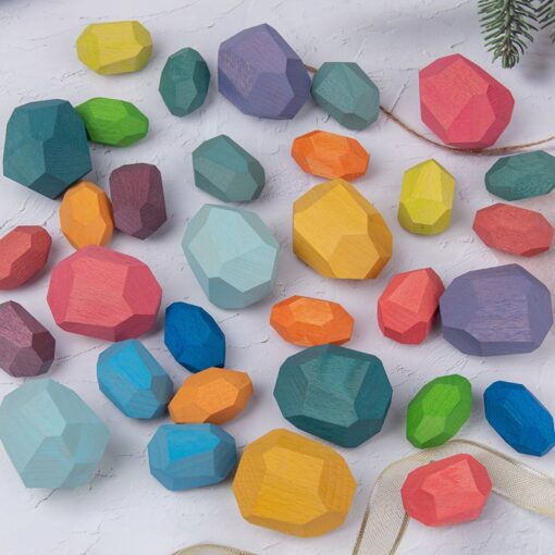 New Children Wooden Colored Stone Jenga Stacking Building Block Educational Toy Creative Nordic Style Rainbow Wooden 1