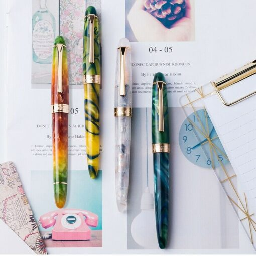 New Colorful LORELEI Resin Converter Filling Fountain Pen Golden Clip Fine Nib 0 5mm Ink With