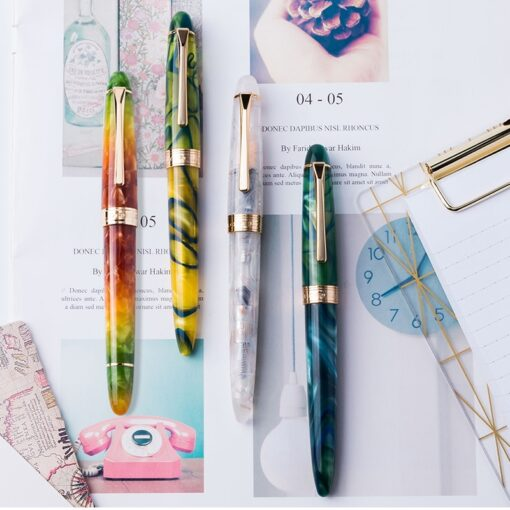 New Colorful LORELEI Resin Converter Filling Fountain Pen Golden Clip Fine Nib 0 5mm Ink With 7