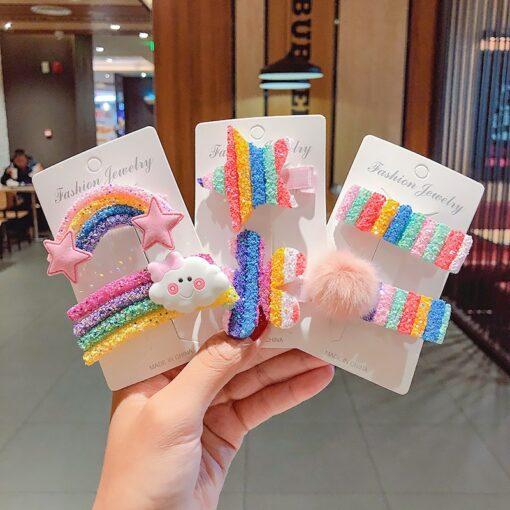 New Cute Rainbow Hair Clips For Girls Colorful Lollipop Hairpins Cartoon Cloud Barrettes Hairclip Set Children 1