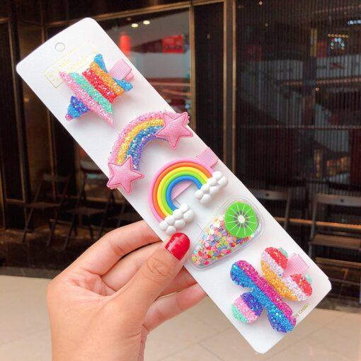 New Cute Rainbow Hair Clips For Girls Colorful Lollipop Hairpins Cartoon Cloud Barrettes Hairclip Set Children 3