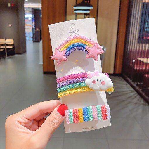 New Cute Rainbow Hair Clips For Girls Colorful Lollipop Hairpins Cartoon Cloud Barrettes Hairclip Set Children 4