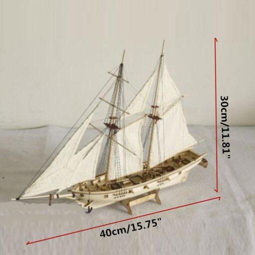 New DIY Wooden Sailboat Assembly Model Assembling Building Kits Ship Model Harvey Diy Wooden Sailboat Toys 5