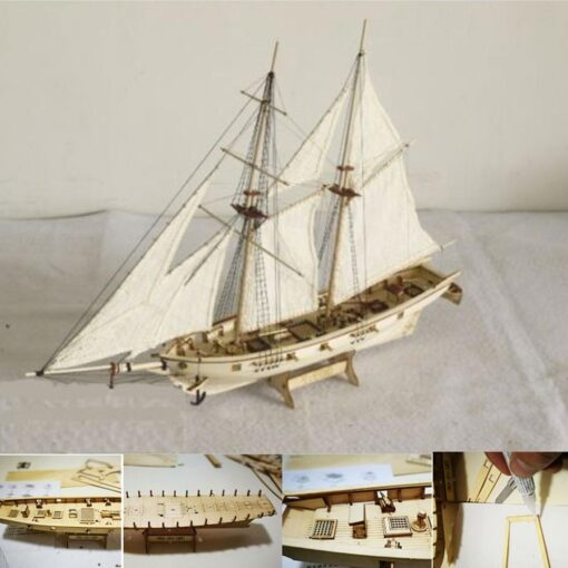 New DIY Wooden Sailboat Assembly Model Assembling Building Kits Ship Model Harvey Diy Wooden Sailboat Toys