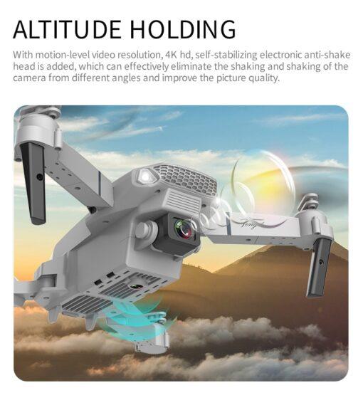 New E88 Pro Mini Drone 4K 1080P HD Camera WiFi Fpv Air Pressure Altitude Hold Black 1