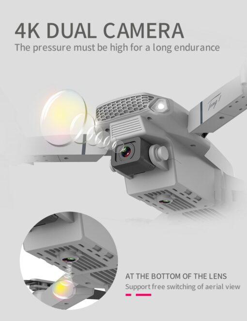 New E88 Pro Mini Drone 4K 1080P HD Camera WiFi Fpv Air Pressure Altitude Hold Black 3