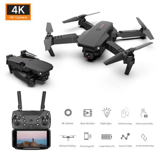New E88 Pro Mini Drone 4K 1080P HD Camera WiFi Fpv Air Pressure Altitude Hold Black