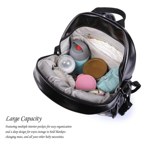 New Fashion PU Black Diaper Backpack for Baby Large Capacity Waterproof Pockets Diaper Bag for Mother 1