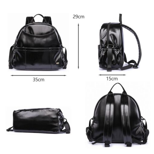 New Fashion PU Black Diaper Backpack for Baby Large Capacity Waterproof Pockets Diaper Bag for Mother 2