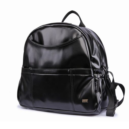 New Fashion PU Black Diaper Backpack for Baby Large Capacity Waterproof Pockets Diaper Bag for Mother
