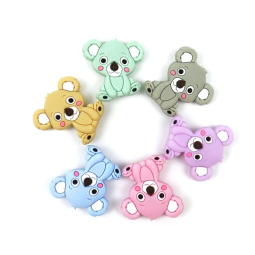 New Food Grade Silicone Teethers DIY Animal Koala Baby Ring Teether Infant Baby Silicone Chew Charms 1
