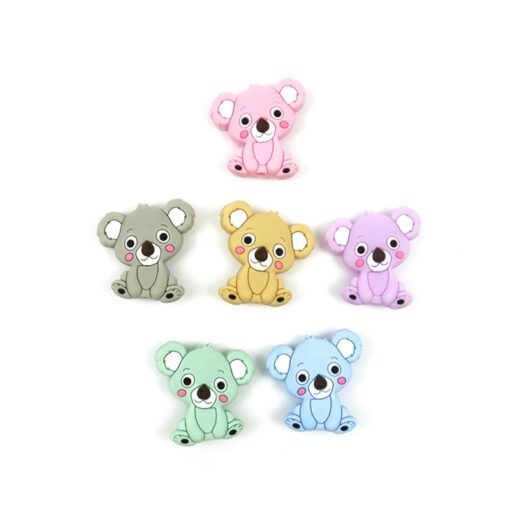 New Food Grade Silicone Teethers DIY Animal Koala Baby Ring Teether Infant Baby Silicone Chew Charms 2
