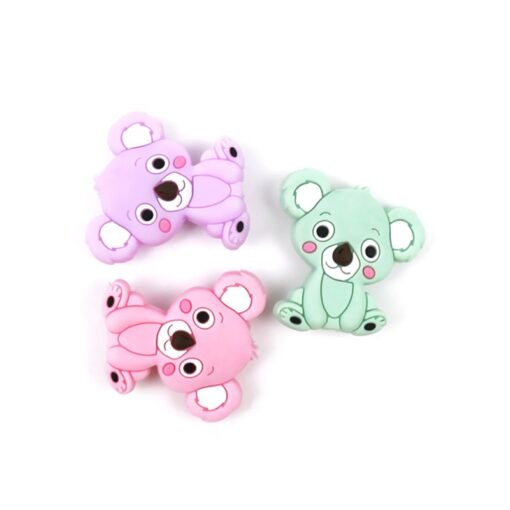 New Food Grade Silicone Teethers DIY Animal Koala Baby Ring Teether Infant Baby Silicone Chew Charms 4