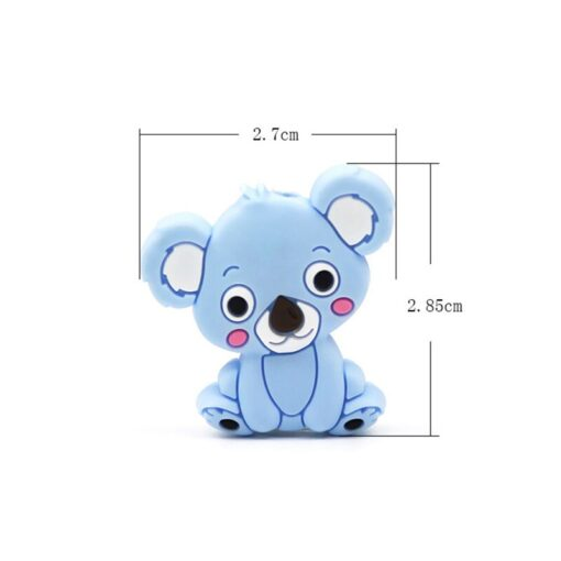 New Food Grade Silicone Teethers DIY Animal Koala Baby Ring Teether Infant Baby Silicone Chew Charms 5