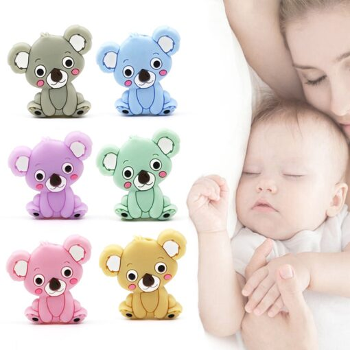 New Food Grade Silicone Teethers DIY Animal Koala Baby Ring Teether Infant Baby Silicone Chew Charms