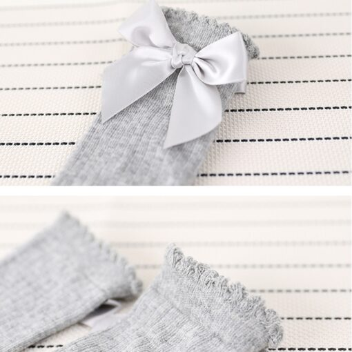 New Kids Socks Toddlers Girls Big Bow Knee High Long Soft Cotton Lace baby Socks Kids 5
