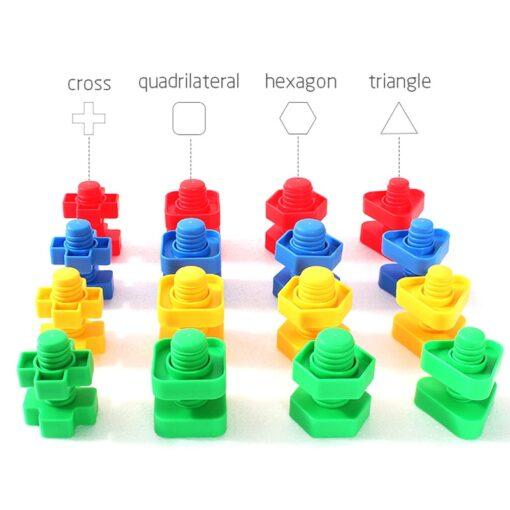New Montessori Screw Matching Building Blocks Plastic Insert Blocks Nut Shape Toys For Children Early Educational 2
