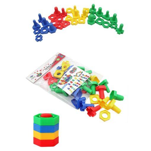 New Montessori Screwing Matching Building Blocks Insert Blocks Nut Shape Toys For Children Educational Toys Games 1