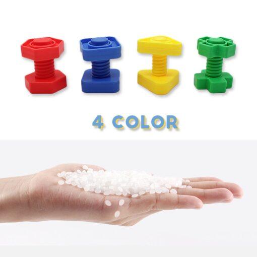 New Montessori Screwing Matching Building Blocks Insert Blocks Nut Shape Toys For Children Educational Toys Games 3