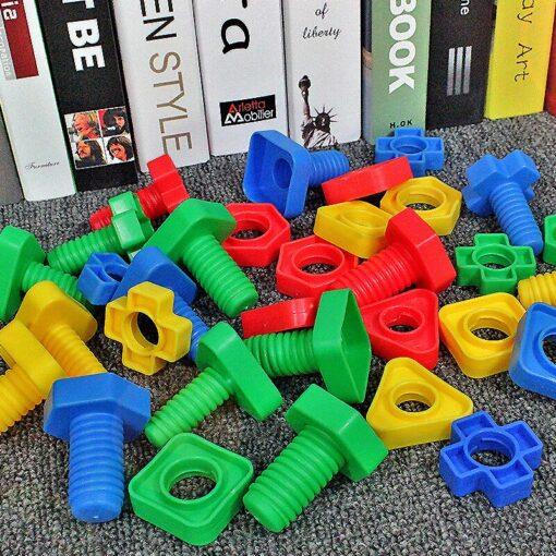 New Montessori Screwing Matching Building Blocks Insert Blocks Nut Shape Toys For Children Educational Toys Games 5