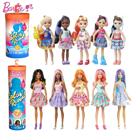 New Original Barbie Color Reveal Doll Surprise Discoloration Blind Box Chelsea With Accessories Toys Kid Girl