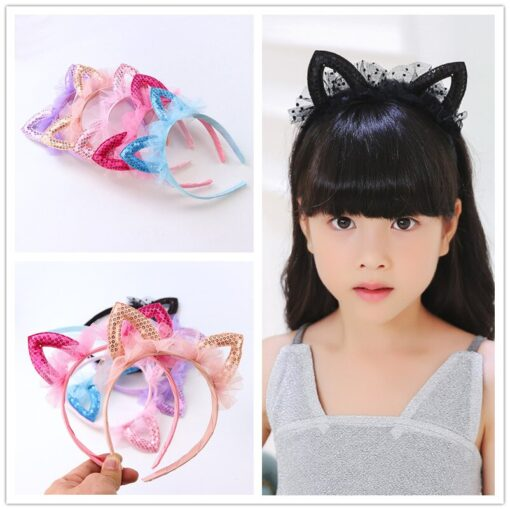 New Pattern Fashion Baby Children Girl Headband Cute Lovely Colorful Cat Ears Lace Sequin Hair Accessories