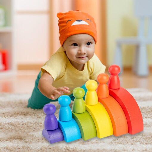 New Rainbow Wooden Baby Toys Montessori Creative Rainbow Building Blocks Wood Jenga Game Early Educational Toys 10