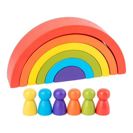 New Rainbow Wooden Baby Toys Montessori Creative Rainbow Building Blocks Wood Jenga Game Early Educational Toys 6