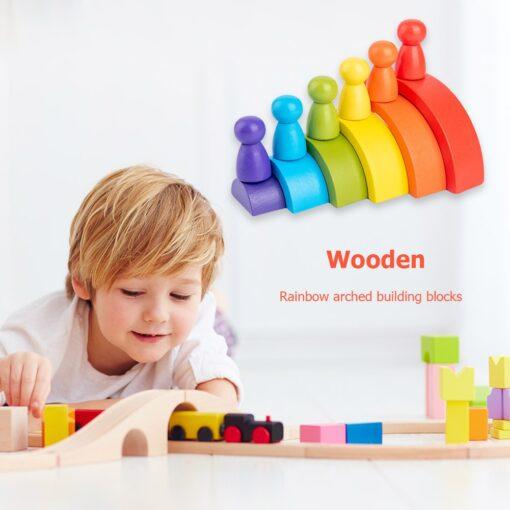 New Rainbow Wooden Baby Toys Montessori Creative Rainbow Building Blocks Wood Jenga Game Early Educational Toys 7