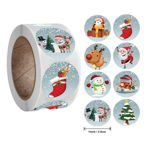 New Roll Pack Sticker Christmas Holiday Gift Decorating Gift 1 Roll School Office Supplies Diy Scrapbooking 2