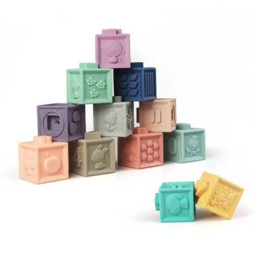 New Soft Rubber 3D Blocks Toy Ever Changing Building Blocks DIY Jigsaw Cute Baby Enlightenment Insert 3