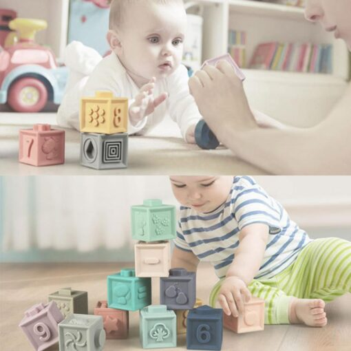 New Soft Rubber 3D Blocks Toy Ever Changing Building Blocks DIY Jigsaw Cute Baby Enlightenment Insert