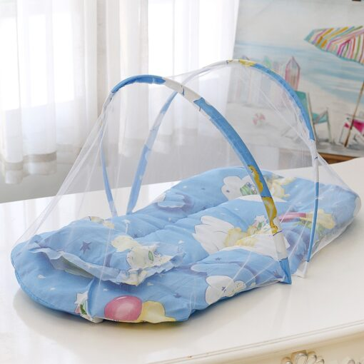 New Summer Breathable Baby Bed Netting Foldable Portable Lace Cotton material Net Yarn Newborn Moving Bed 1