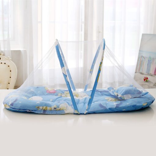 New Summer Breathable Baby Bed Netting Foldable Portable Lace Cotton material Net Yarn Newborn Moving Bed 2
