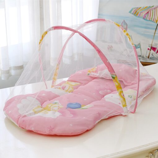 New Summer Breathable Baby Bed Netting Foldable Portable Lace Cotton material Net Yarn Newborn Moving Bed 3