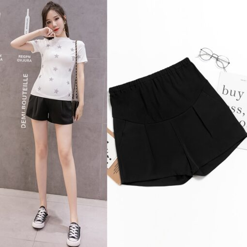 New Summer Wide Leg Spot Pleated Chiffon Loose Maternity Shorts Summer Sweet Hot Shorts for Pregnant 1