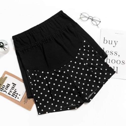 New Summer Wide Leg Spot Pleated Chiffon Loose Maternity Shorts Summer Sweet Hot Shorts for Pregnant 2